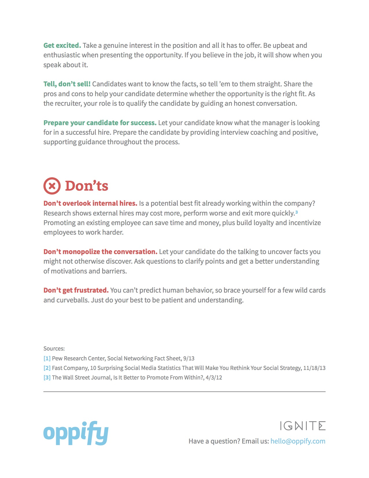 Oppify Recruiter Do's and Don'ts Back Page