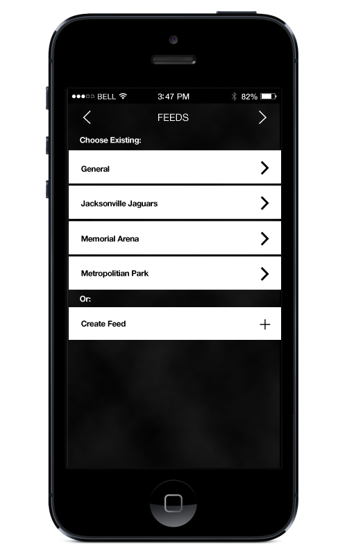 Available Feeds Screen