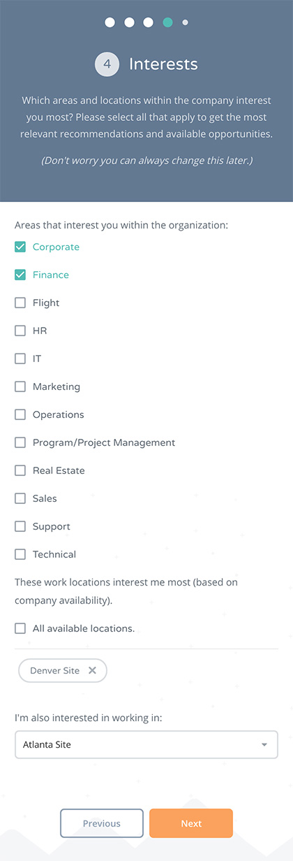 Onboarding Interests Screen